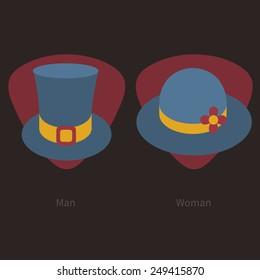 Male and female retro brim hats icons.