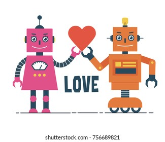 Male and Female Robots with Heart Illustration