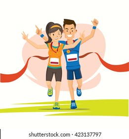 male and female runner cross the finish line with medal cartoon