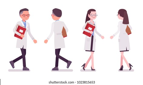 Male and female scientist walking. Expert of physical or natural laboratory in white coat. Science and technology. Vector flat style cartoon illustration isolated on white background, front, rear view