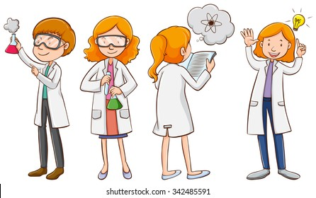 scientist vector cartoon images stock photos vectors shutterstock https www shutterstock com image vector male female scientists illustration 342485591