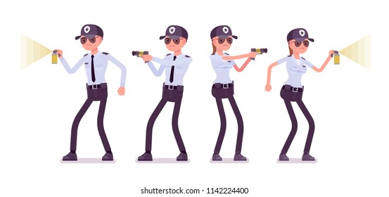 Male and female security guard at work. Uniformed officer, agent with electroshock, flash light. Public, private city safety concept. Vector flat style cartoon illustration, isolated, white background