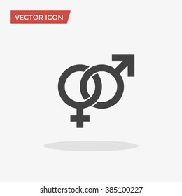 Male, female sex symbol. Gender Icon in trendy flat style isolated on grey background. Vector illustration, EPS10.