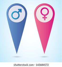 Male Female Sex symbols in Map Pin - Vector