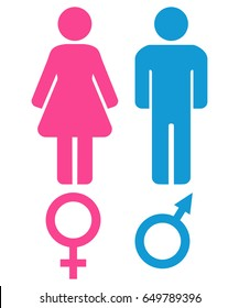 Male and female sex symbols. Venus and Mars. Man and woman icons. Vector graphic.