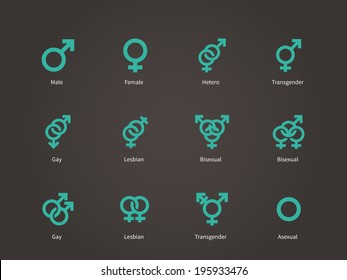 Male and Female sexual orientation icons. Vector illustration.
