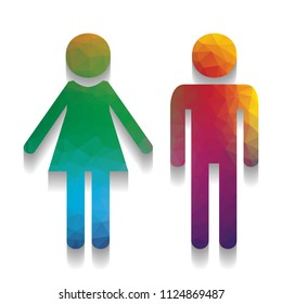Male and female sign. Vector. Colorful icon with bright texture of mosaic with soft shadow on white background. Isolated.