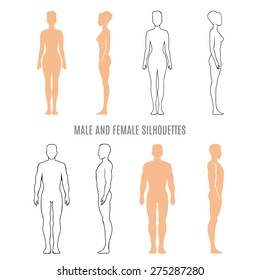 Male and female silhouettes. human man and woman, front, back and side. Vector illustration