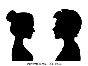 Male and female silhouettes opposite each other, isolated vector