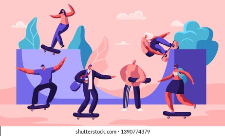 Male and Female Skateboard Characters. Stylish Skating Teenagers Making Stunts and Tricks, Jumping on High Speed on Boards. Extreme Summertime Activity, Skateboarding. Cartoon Flat Vector Illustration