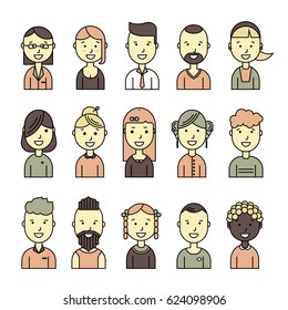 Male and female smiling faces avatars. Flat color style vector icons set