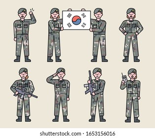 Male and female soldier characters in various poses. flat design style minimal vector illustration.