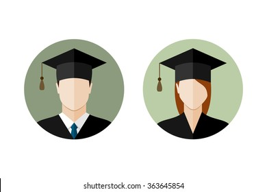 Male and female student icons. Set of college or university graduation students. Flat style design