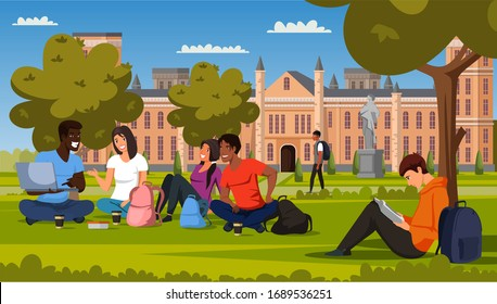 Male and female students rest, study in campus park. Multiracial teenagers in casual clothes watching funny video on laptop, reading book. Break time in university, college. Vector illustration