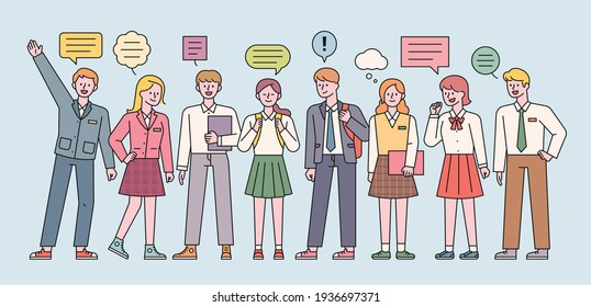 Male and female students in school uniforms are standing and expressing their opinions. flat design style minimal vector illustration.