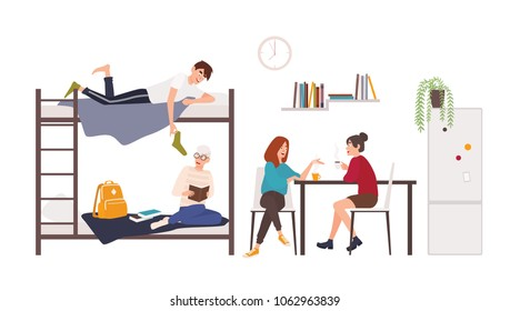 Male and female students spending time in college dormitory room. Young men and women drinking coffee, talking, preparing for exam in university residential area. Flat cartoon vector illustration.