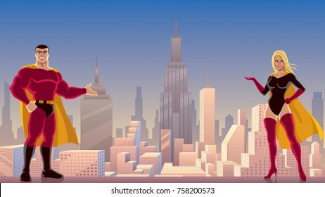 Male and female superheroes presenting something, with cityscape as background.