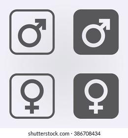 Male and female symbol set . Vector illustration
