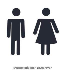 male and female symbols, black and white, flat minimalist design.