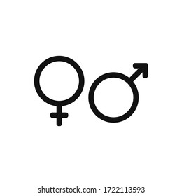 Male and Female symbols icon vector. Gender sign