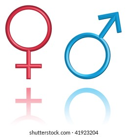 Male and female symbols, isolated on white, vector illustration, raster variant is also available