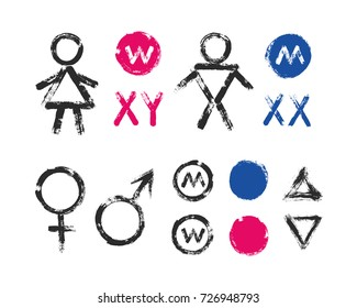 Male Female Symbols and Toilet Icons. Brush strokes signs for man and woman. Grunge design elements with distress texture. Painted vector graphic.