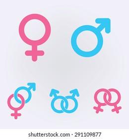 Male and female symbols . Vector illustration .