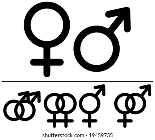 Male and  female symbols. Vector illustrations. Black-and-white contour. Combinations.