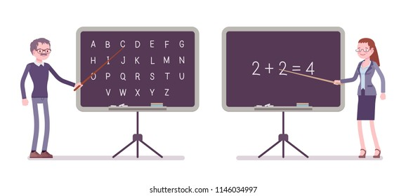 Male and female teacher at blackboard. School, universirty, college worker, at lesson for students. Professional education, learning. Vector flat style cartoon illustration isolated, white background