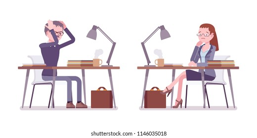 Male and female teacher working in despair at the desk. School, universirty or college tired worker. Professional education. Vector flat style cartoon illustration isolated on white background
