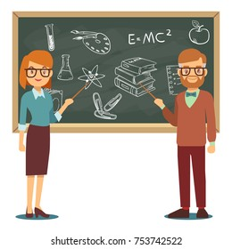 Male and female teachers standing in front of blank school blackboard vector illustration. School teacher and chalkboard, profession teaching