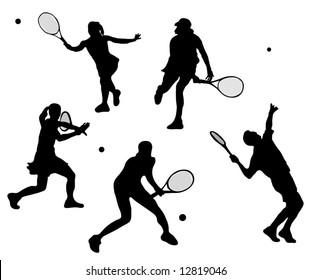 Male and Female Tennis Player silhouettes