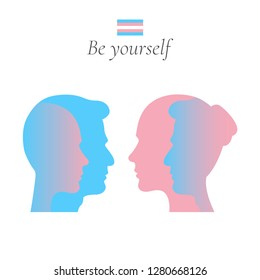Male to female and female to male transgender or transsexual flat profile silhouettes with a flag icon. Be yourself. Vector EPS 10