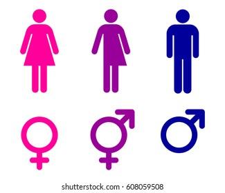 Male, female and transgender, unisex symbols, toilet sign set, vector illustration.
