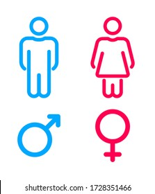 Male and female user avatar.  Man and woman symbol. Gentleman and lady toilet icon set. Gender vector icons