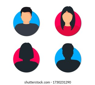 Male and female user profile. Avatar Man and woman. Gender icon Unknown or anonymous person. Male and female face silhouette. Man and woman profile Avatar, for web site design and mobile apps