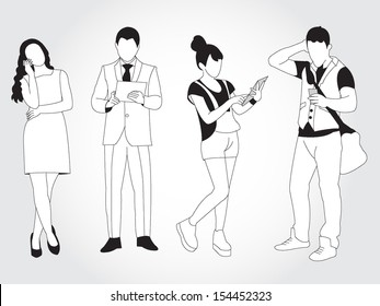 Male and female using smart phones and tablets illustration