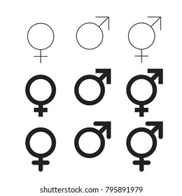Male and female vector icon isolated gender symbols set on white background. Mars and Venus pictograms