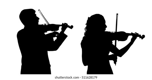 Male and female violinist