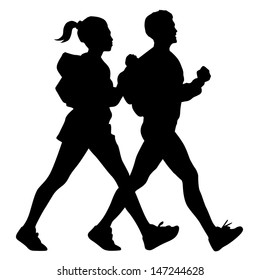 male and female walking silhouette  vector