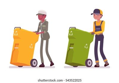 Male and female waste collectors in nice uniform pushing trash bins on wheels, employee that picks up trash, urban garbage industry and service, environmentally friendly business, city workers