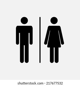 Male and female WC icon denoting toilet and restroom facilities for both men and women with black male and female silhouetted figures