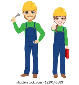 Male and female workers holding monkey wrench and toolbox builder team