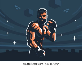 A male fighter of mixed martial arts is in a fighting stance. Vector illustration.