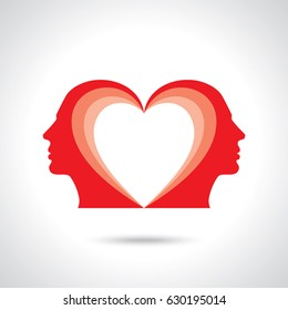 Male figure facing each other with heart symbol in their head