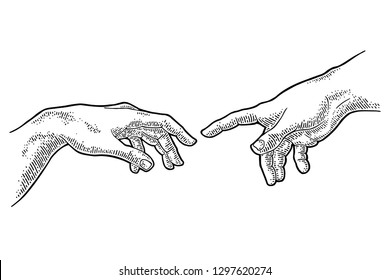 Male finger pointing touch god hand. Section fresco The Creation of Adam. Vector black vintage engraving illustration isolated on a white background. For web, poster, info graphic