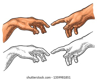 Male finger pointing touch god hand. Section fresco The Creation of Adam. Vector color vintage engraving illustration isolated on a white background. For web, poster, info graphic