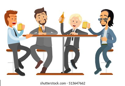 male friends drinking beer in a bar, pub, coffee shop. business suit Vector, flat design people