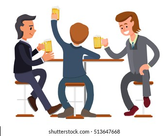 male friends drinking beer in a bar, pub, coffee shop. business suit, businessmen meeting Vector, flat design people. Isolated on a white background.