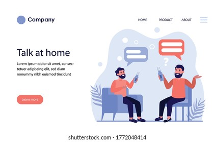 Male friends drinking beer and talking at home. Bearded men sitting with bottles and having conversation flat vector illustration. Male break concept for banner, website design or landing web page